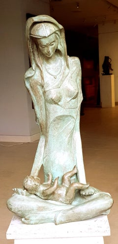 Mother and Child : Figurative bronze, Green-brown patina; famous Indian artist