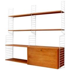 Nisse Strinning Wall System String Shelf in Teak Wood Sweden 1950s