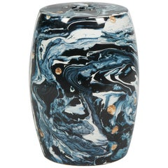 Nitin Porcelain Garden Stool with Marble Pattern by CuratedKravet