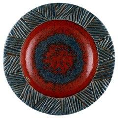 Nittsjö, Sweden, Large Round Dish in Glazed Stoneware, 1960s