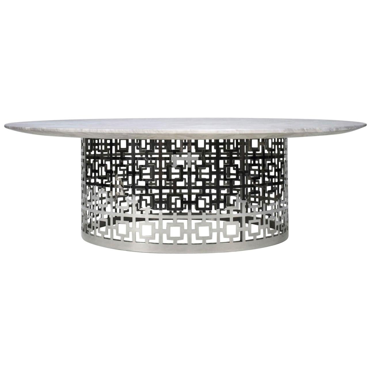 Nixon Nickel and Marble Cocktail Table