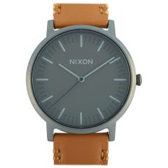 Nixon Porter Leather Gunmetal or Charcoal or Taupe Watch A1058-2494-00