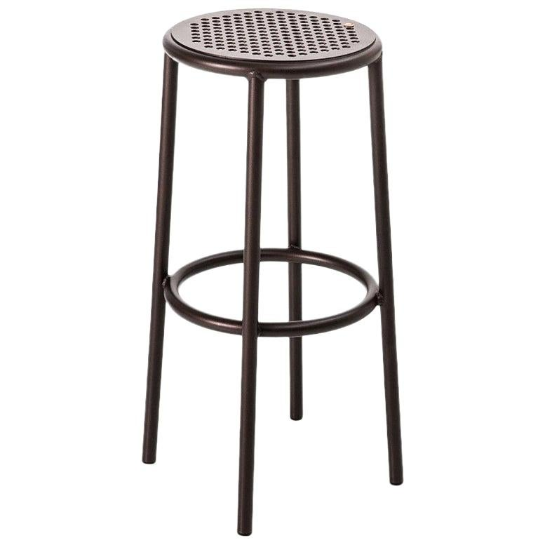 """""""Nizza"""" Copper Varnished Aluminum Structure and Seat Stool by Moroso for Diesel"""