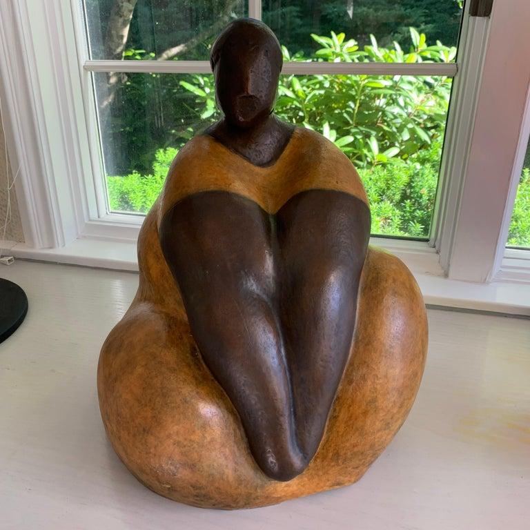 "Nnamdi Okonkwo Figurative Sculpture - ""Damsel II"" by Nnamdi Okonwko Bronze Sculpture of Woman"
