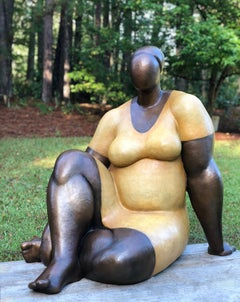 'Damsel-Life Size' Cast Bronze Sculpture with Patina and Lacquer Finish