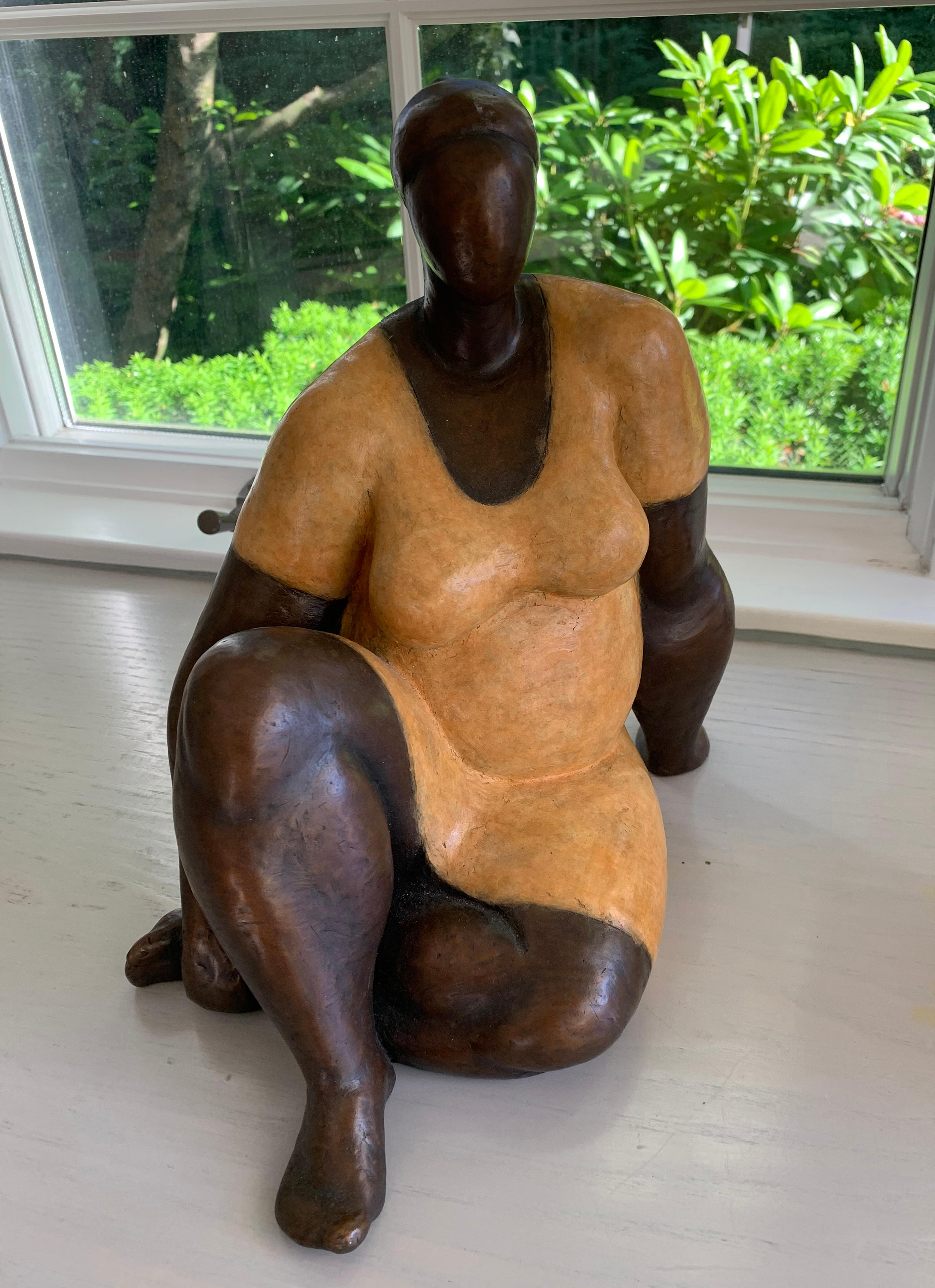 'Damsel' Cast Bronze Sculpture with Patina and Lacquer Finish
