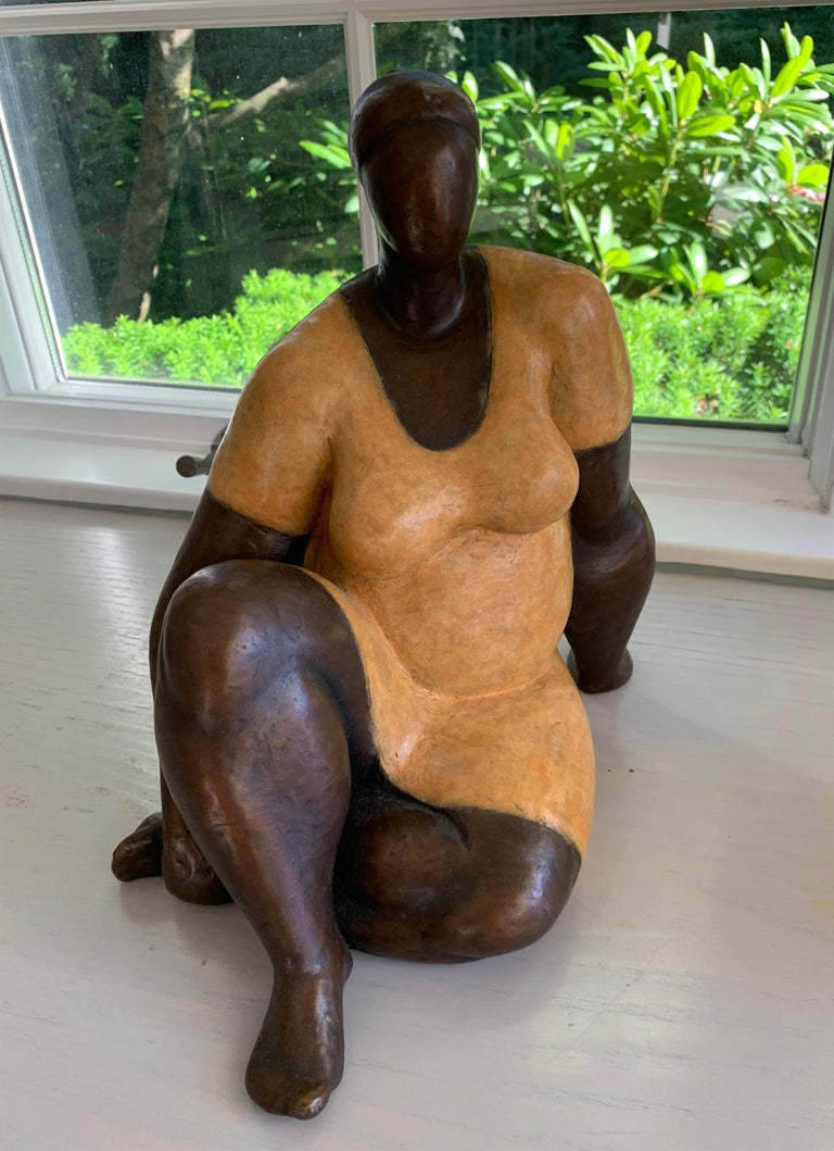 "Nnamdi Okonkwo Figurative Sculpture - ""Damsel"" by Nnamdi Okonwko Bronze Sculpture of Woman"