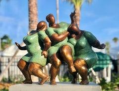 """Joy in Green"" by Nnamdi Okonkwo Bronze Sculpture of Three Women"
