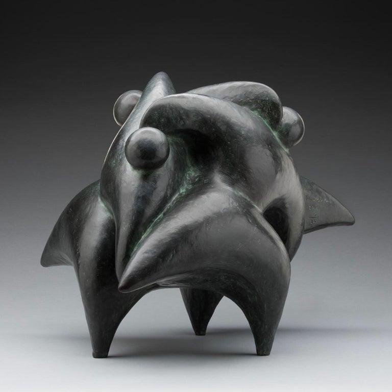 """Nnamdi Okonkwo Figurative Sculpture - """"Unity"""" Bronze with Patina and Lacquer"""