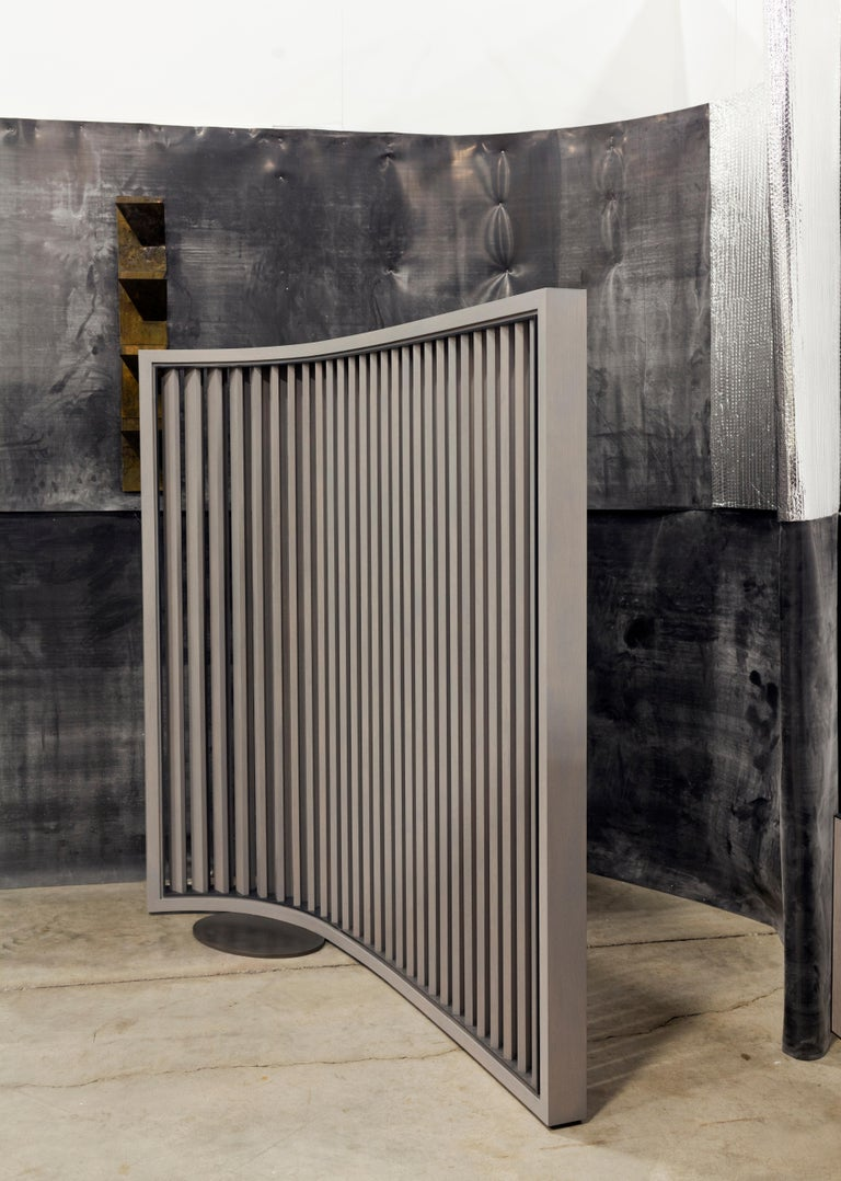 Contemporary No. 1 Screen - cerused oak, blackened steel with custom lacquer detail For Sale