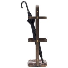 No. 1 Umbrella Stand - brass plated steel, polished Rosso Levanto marble