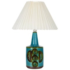 No. 1203/3 Ceramic Table Lamp by Danish Soholm, 1970s Pleated Shade Included