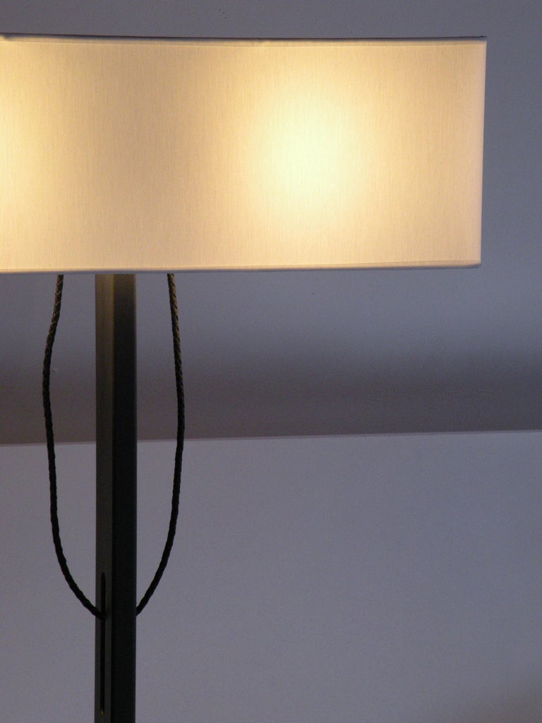Metalwork 'No. 19 Classic' Floor Lamp, Structured Paint, White Shade, Leather Cord Details For Sale