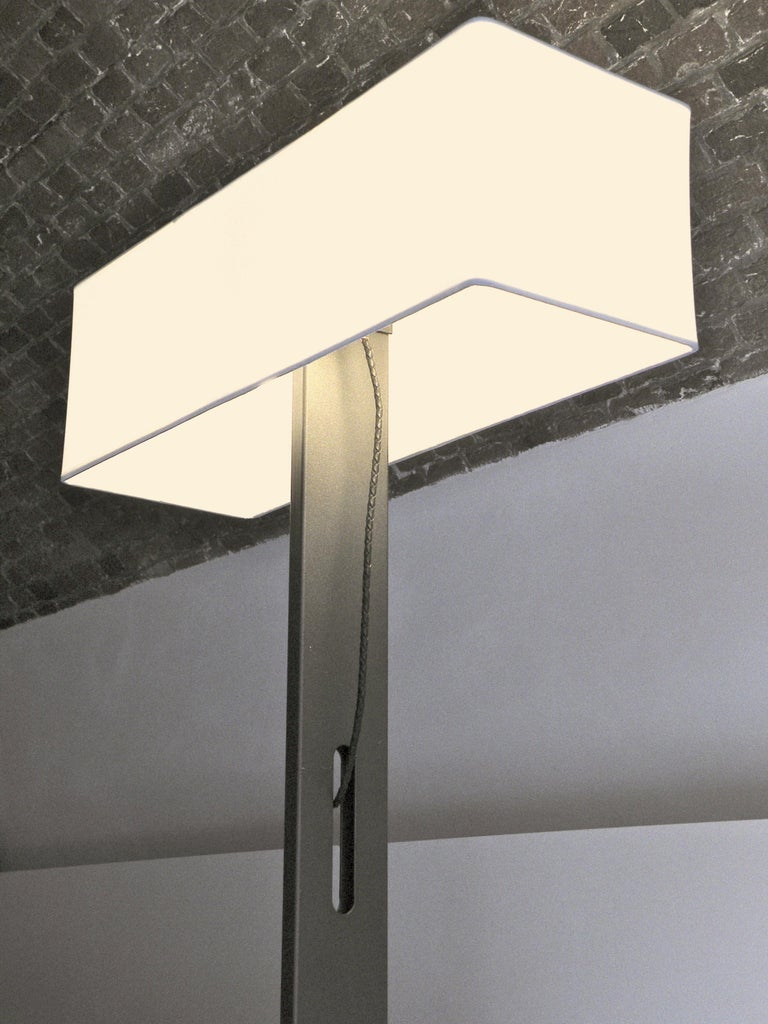 Contemporary 'No. 19 Classic' Floor Lamp, Structured Paint, White Shade, Leather Cord Details For Sale