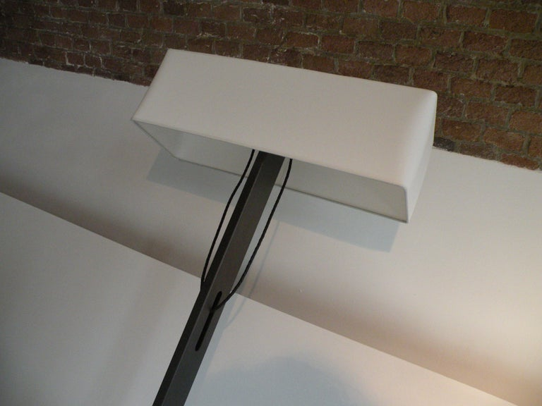 Steel 'No. 19 Classic' Floor Lamp, Structured Paint, White Shade, Leather Cord Details For Sale