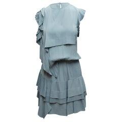 No. 21  Light Blue Cap Sleeve Tiered Dress