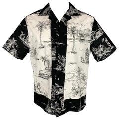 NO. 21 Size S White & Black Print Cotton Camp Short Sleeve Shirt
