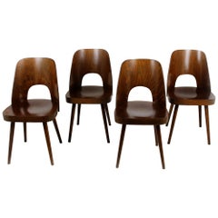 No. 515 Wooden Chairs by Oswald Haerdtl for TON, 1950s, Set of 4