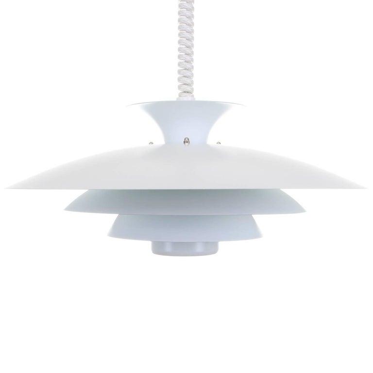 No. 52511, White Pendant Light by Form-Light, 1970s, Large White Ceiling Light