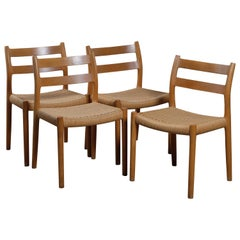 No. 84 Oak Dining Chairs with Paper Cord Seats by Niels Otto Møller