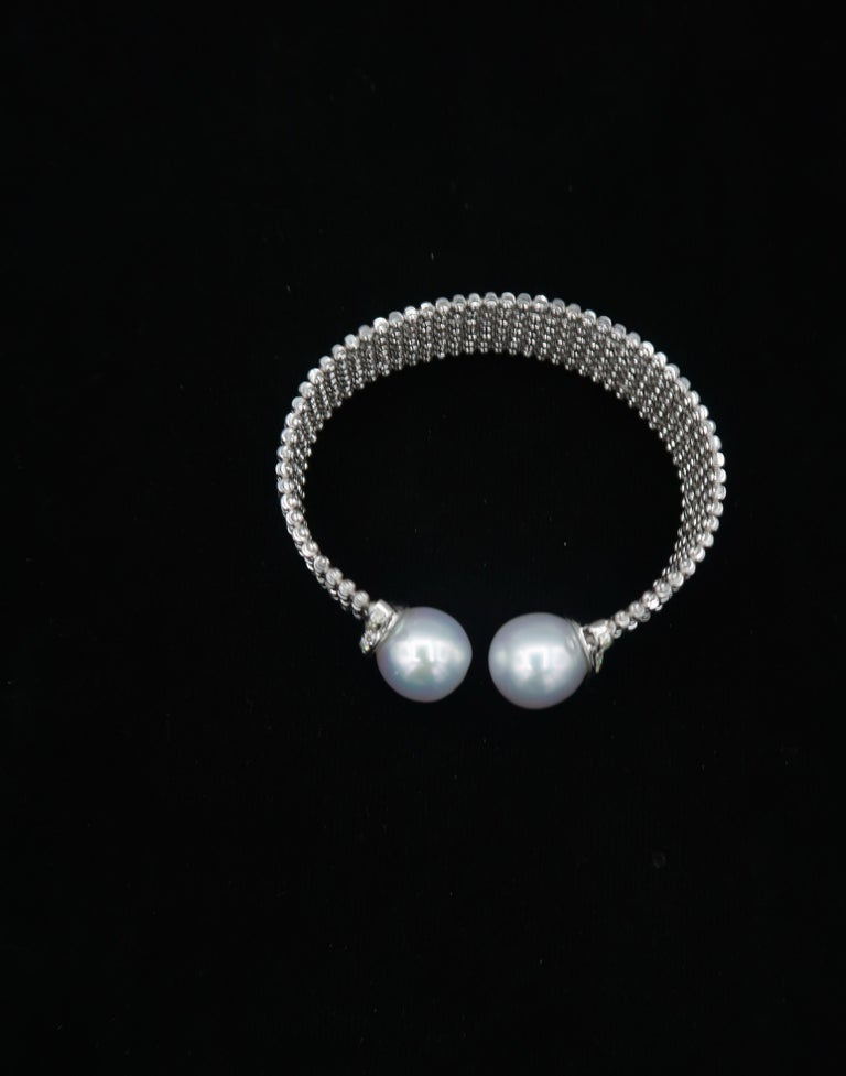 Women's Easy-to-Wear Spring Open Bangle in 18K Gold w/ Diamonds & White South Sea Pearls For Sale