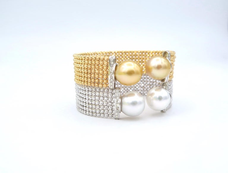 Easy-to-Wear Spring Open Bangle in 18K Gold w/ Diamonds & White South Sea Pearls For Sale 1