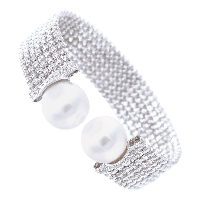 Easy-to-Wear Spring Open Bangle in 18K Gold w/ Diamonds & White South Sea Pearls For Sale