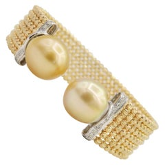 No Closure Easy to Wear Spring Bracelet Yellow Gold Diamond South Sea Pearls