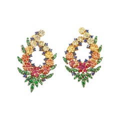 No Diamond Multi-Color Sapphire Ruby Flower Wreath Gold Clip-On Earrings