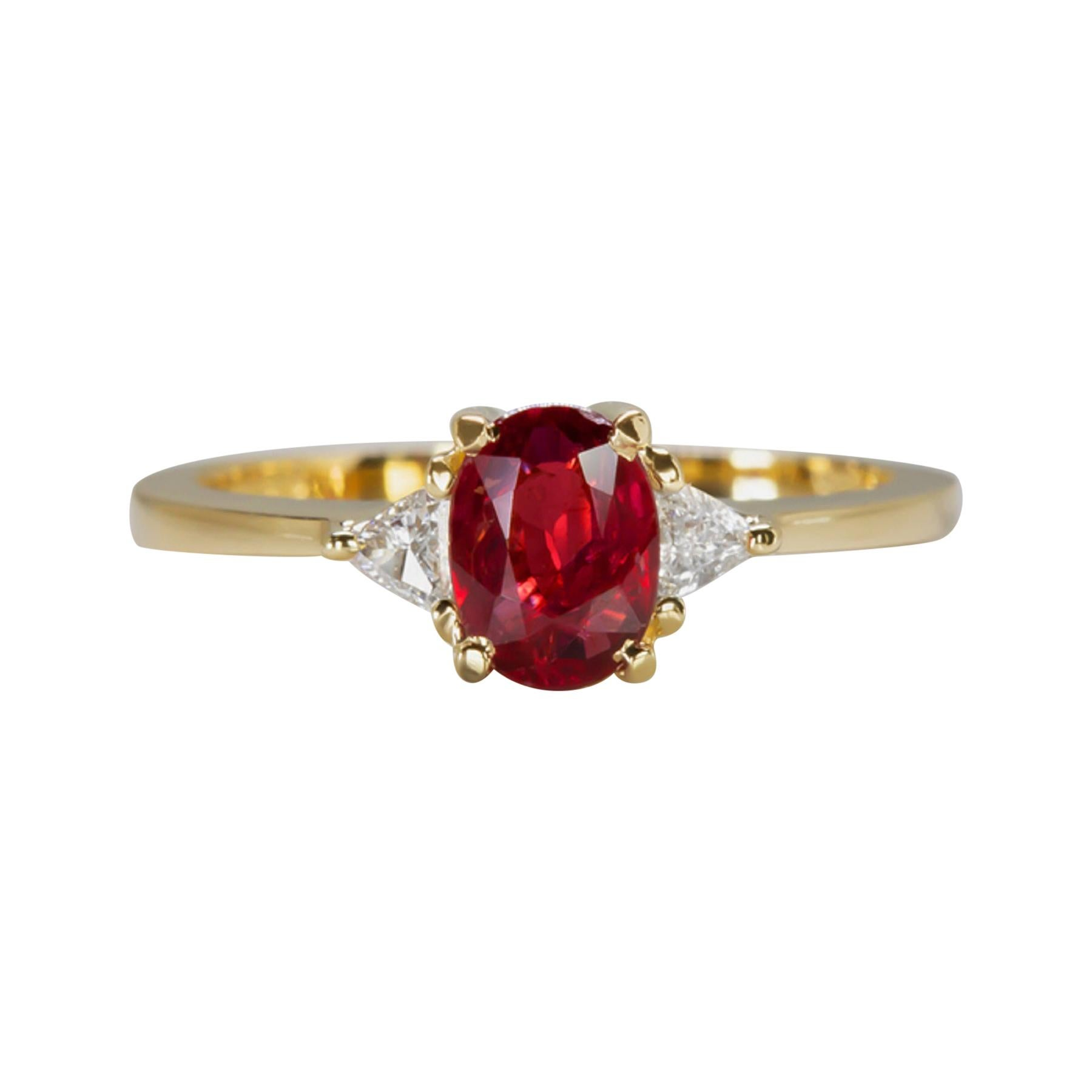 No Heat 1 Carat Peagon's Blood Oval Ruby Diamond Ring