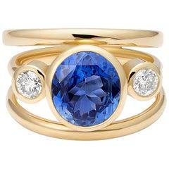 No Heat 3.14 Carat Sapphire and White Diamond 3-Stone Cocktail Ring