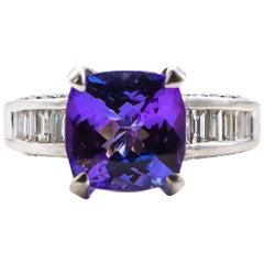 No-Heat 6.50 Carat Tanzanite Ring with 1.20 Carat Diamonds