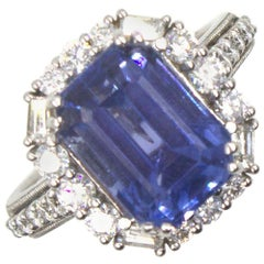 No Heat 7.34 Carat Ceylon Sapphire Diamond Ring AGL Certified