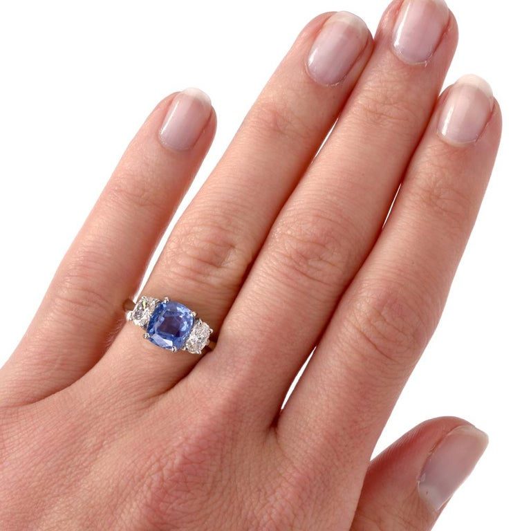 Engagement Rings No Stone: No Heat Blue Ceylon Sapphire Diamond Three-Stone