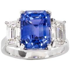 No Heat Blue Ceylon Sapphire Diamond Three-Stone Platinum Ring