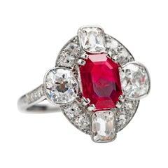 No-Heat Burma Ruby & Diamond Ring AGL Certified 4.5 Carats