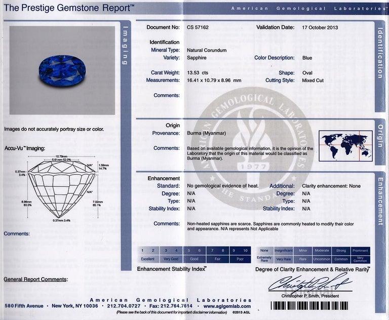 Women's or Men's No Heat Burma Sapphire Platinum Ring For Sale