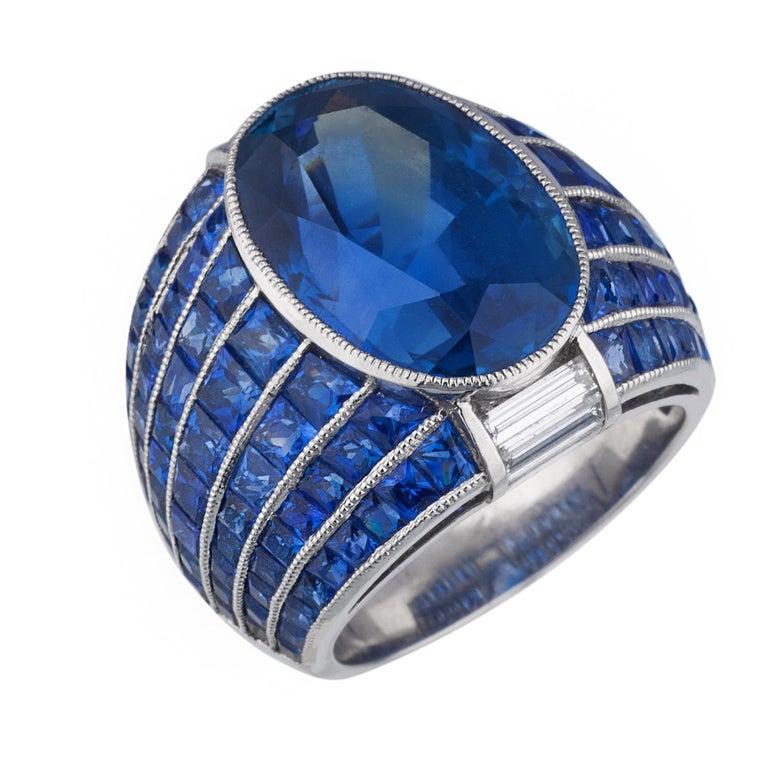 No Heat Burma Sapphire Platinum Ring For Sale 1
