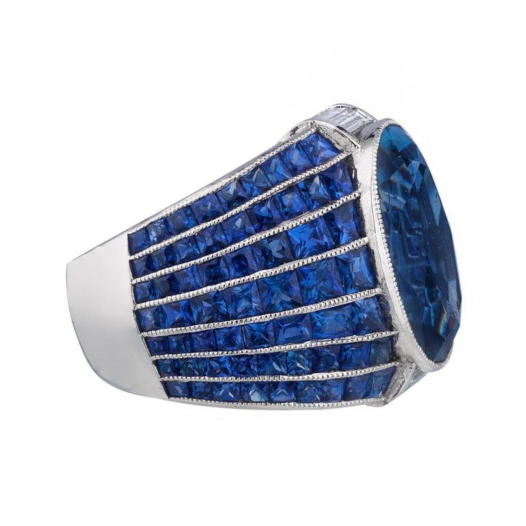 No Heat Burma Sapphire Platinum Ring For Sale