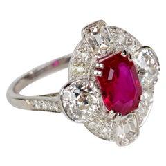 No-Heat Burmese 2.24 Carat Ruby Ring with Diamonds Certified