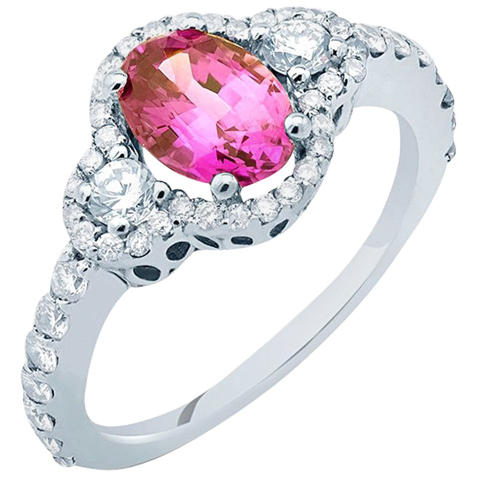 No Heat Ceylon Pink Sapphire Diamond Cocktail Ring GIA Certificate