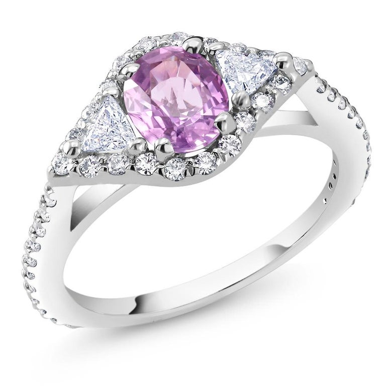 Oval Cut Eighteen Karat Gold No Heat Pink Sapphire Diamond Cocktail Ring GIA Certified For Sale
