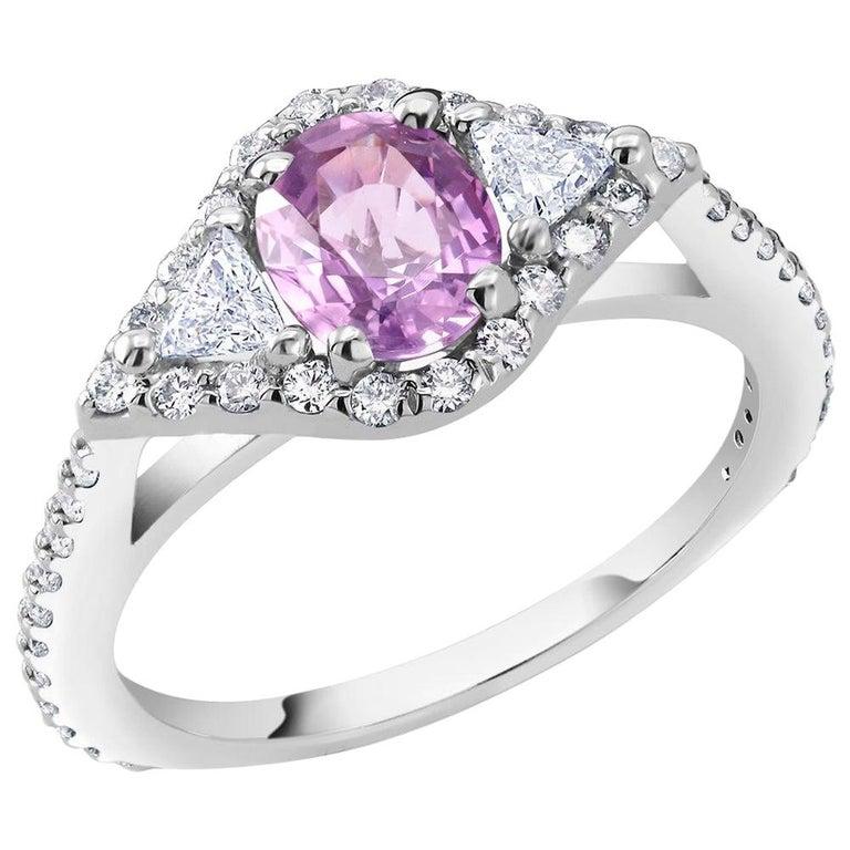 Eighteen Karat Gold No Heat Pink Sapphire Diamond Cocktail Ring GIA Certified For Sale