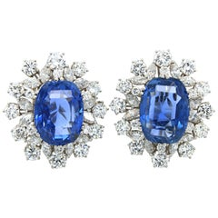 No-Heat Ceylon Sapphire and Diamond Cluster Earrings, circa 1970s
