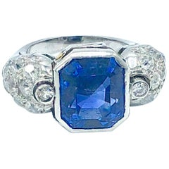 No Heat Ceylon Sapphire and Diamond Cocktail Ring