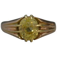 No Heat Ceylon Yellow Sapphire 18 Carat Gold Solitaire Gypsy Ring