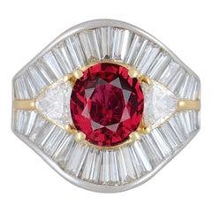 No-Heat Gem Ruby Diamond Platinum Gold Ring, GIA Certified