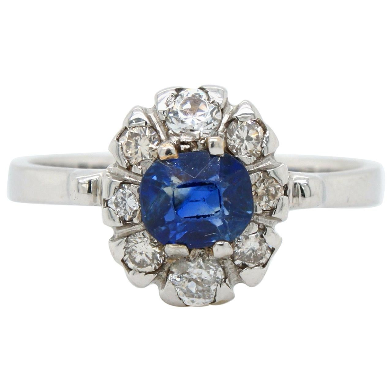 No Heat Kashmir Sapphire and Diamond Ring