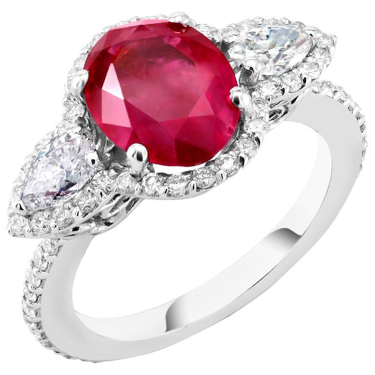 Platinum No Heat Magok Burma Ruby and Diamond Cocktail Ring GIA Certificate