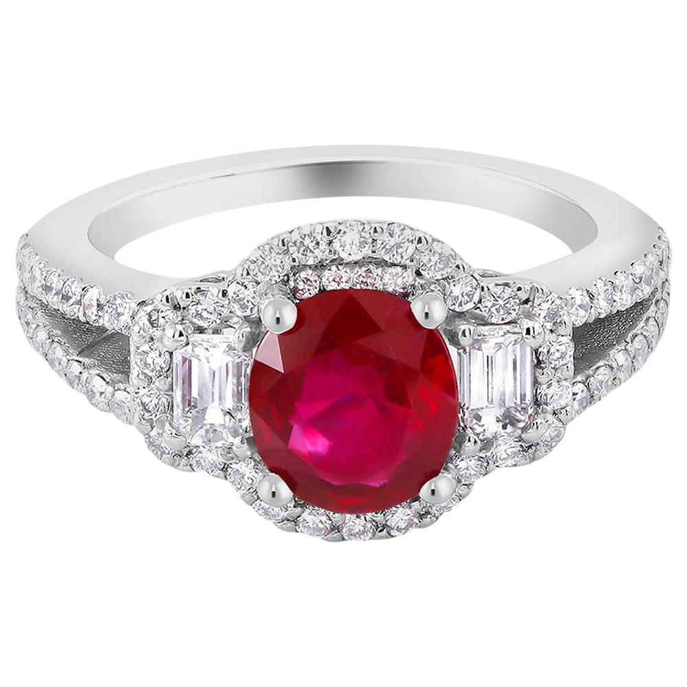 No Heat Magok Burma Ruby Platinum Diamond Ring GIA Certificate